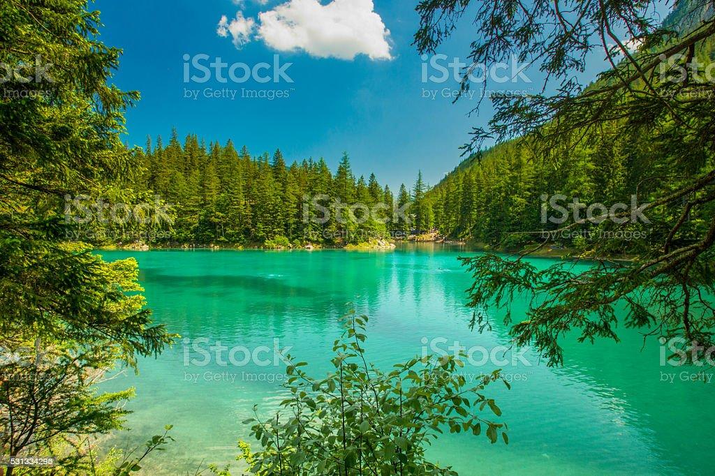 Green lake, Tragoess, Styria stock photo