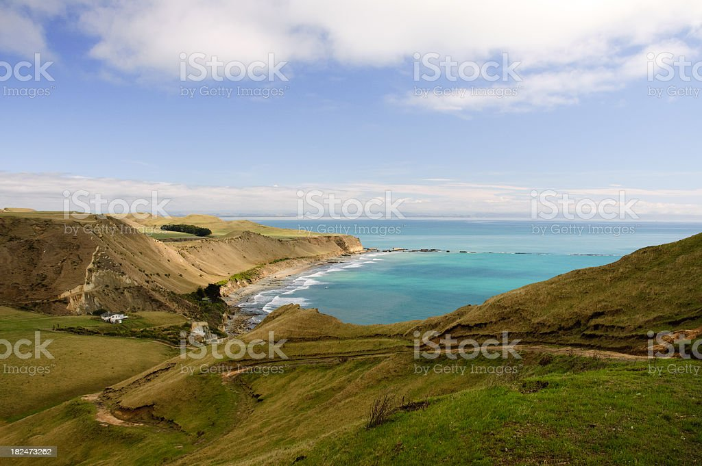 Green landscape and hills of New Zealand's Cape Kidnappers stock photo