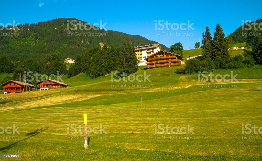 Green landscape in  French Alps stock photo