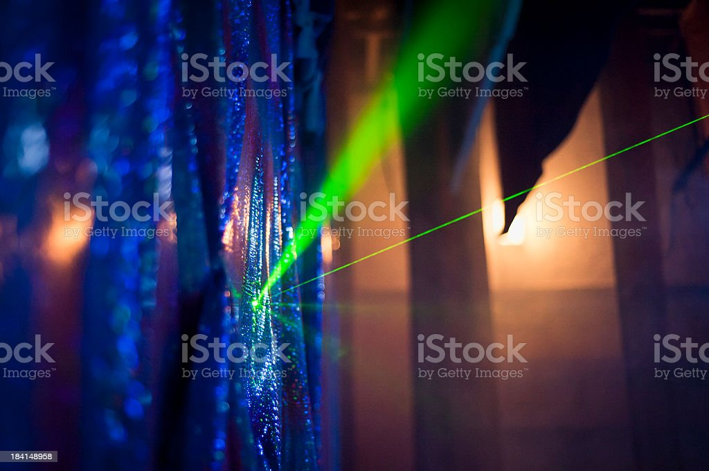 Green Laser On Background In The Theatre royalty-free stock photo