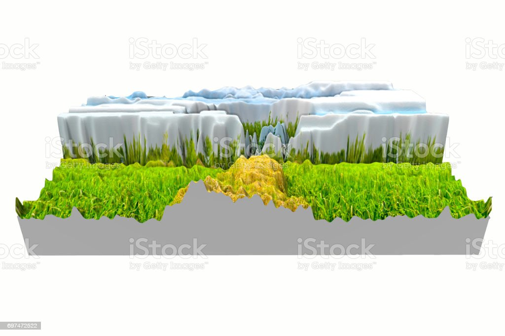 3D green lawn building tree and sky blurred white background stock photo