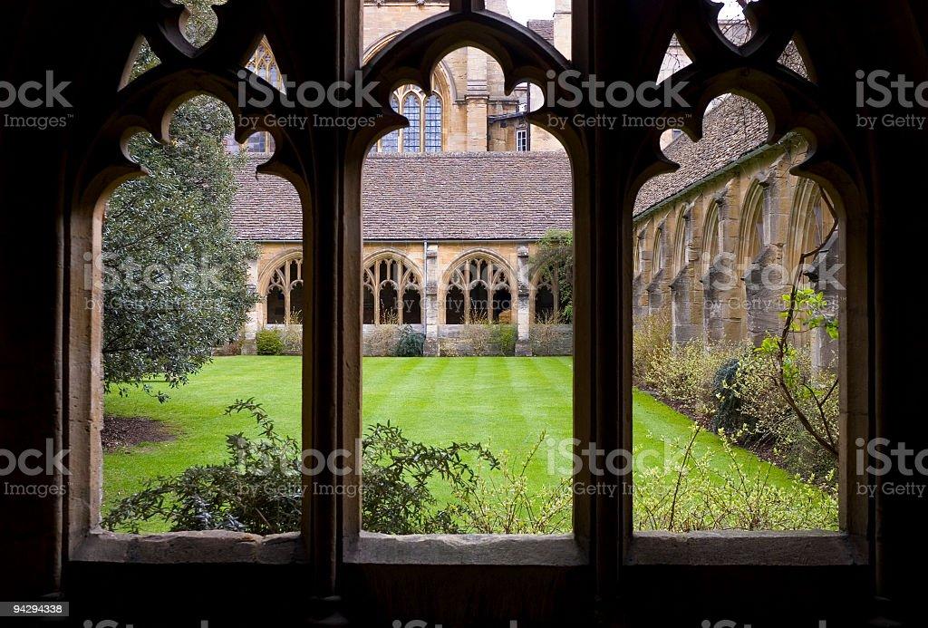 Green lawn through window, Oxford royalty-free stock photo