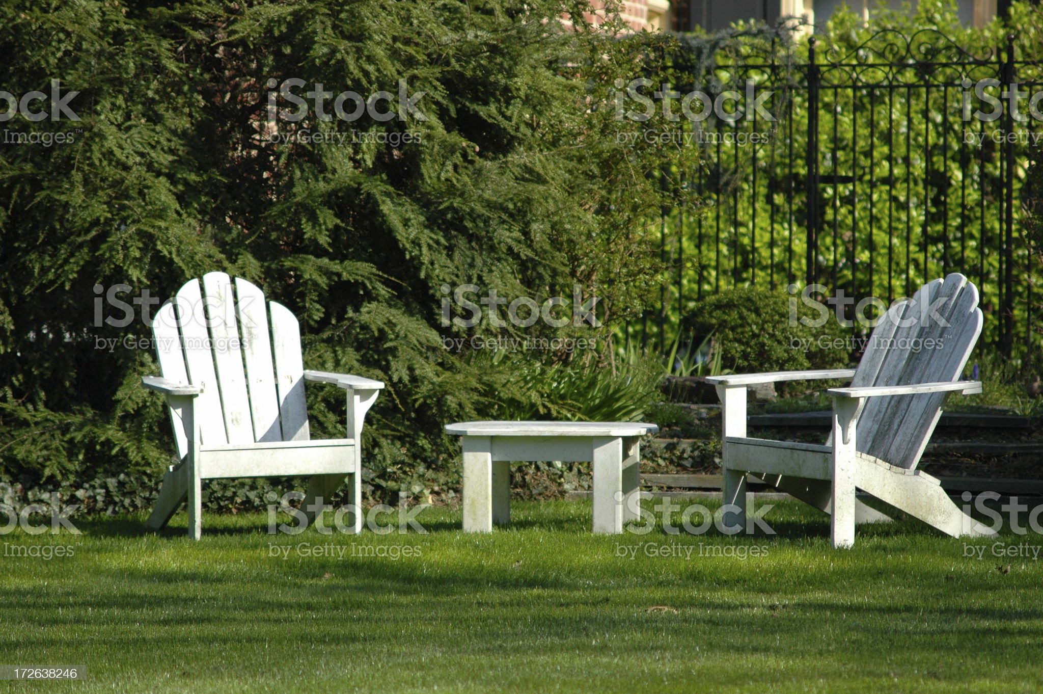 Green Lawn, White Chairs royalty-free stock photo