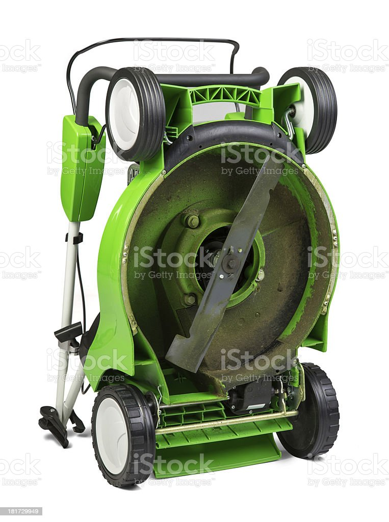 Green lawnmower isolated on white background stock photo