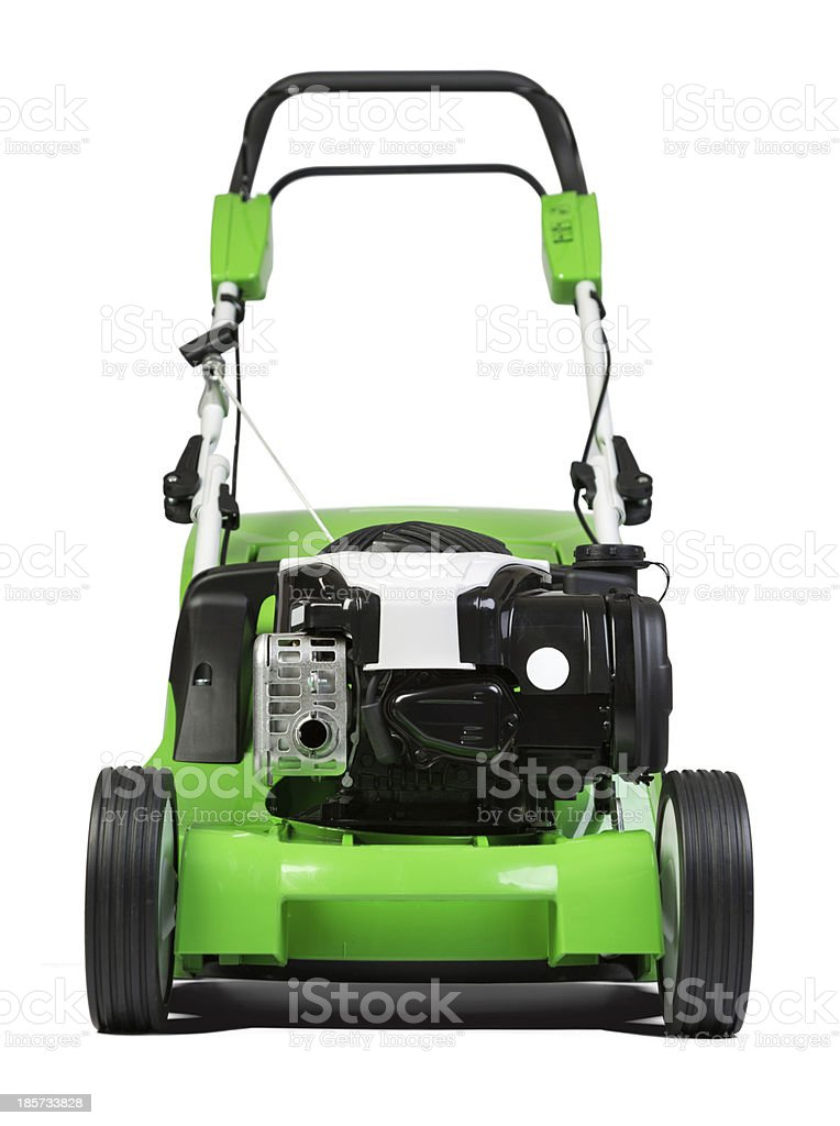 Green lawnmower isolated on white background royalty-free stock photo