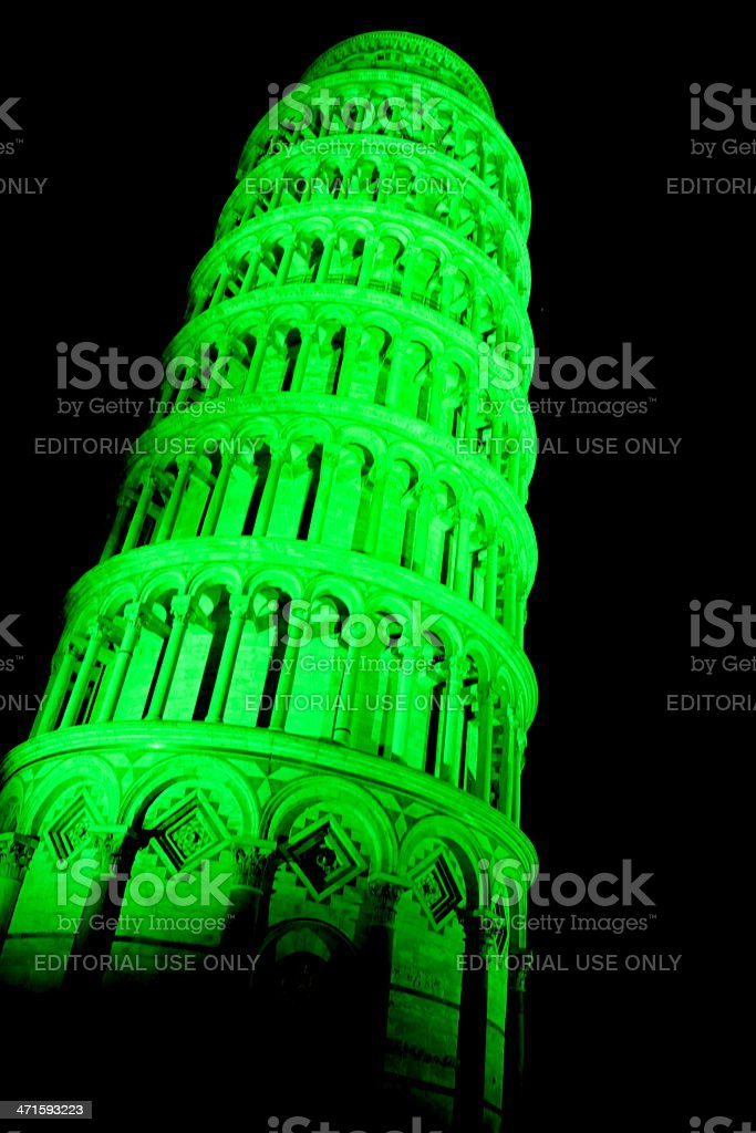 Green leaning tower royalty-free stock photo