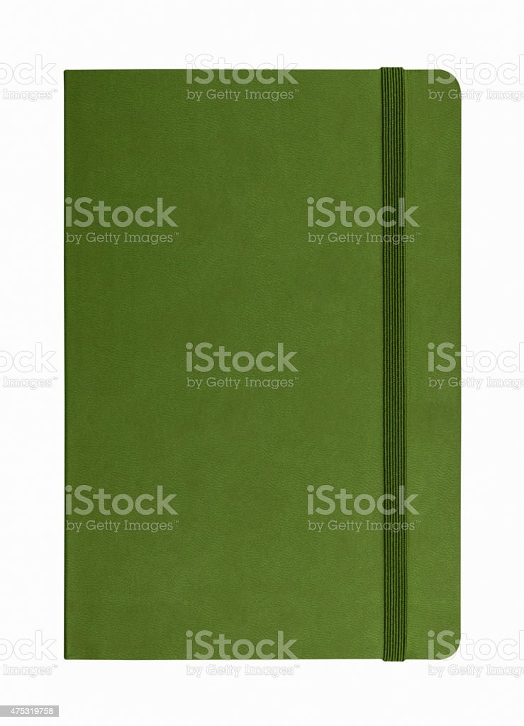 green leather notebook isolated on white background stock photo