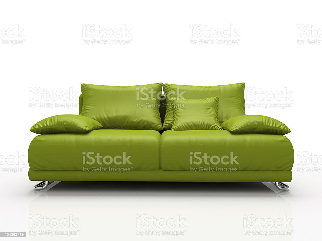 Green Leather Sofa Isolated On White Background Stock Photo