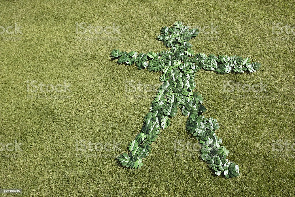 Green leaves in outline of man royalty-free stock photo