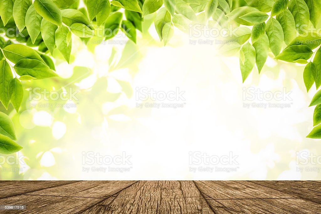Green Leaves With Empty Wooden Table Top Background stock ...