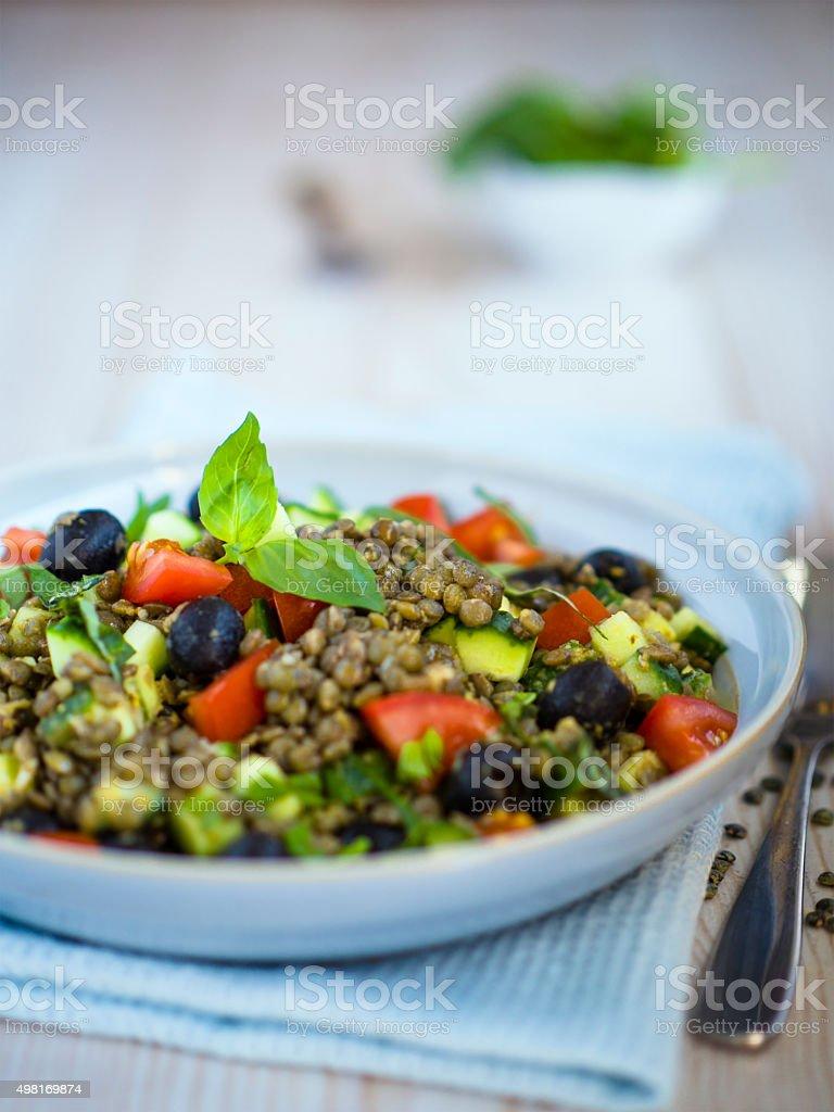 green lentil salad stock photo