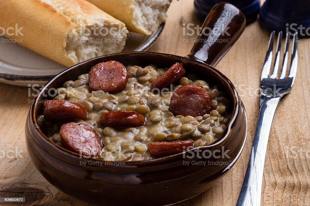 green lentil stew stock photo