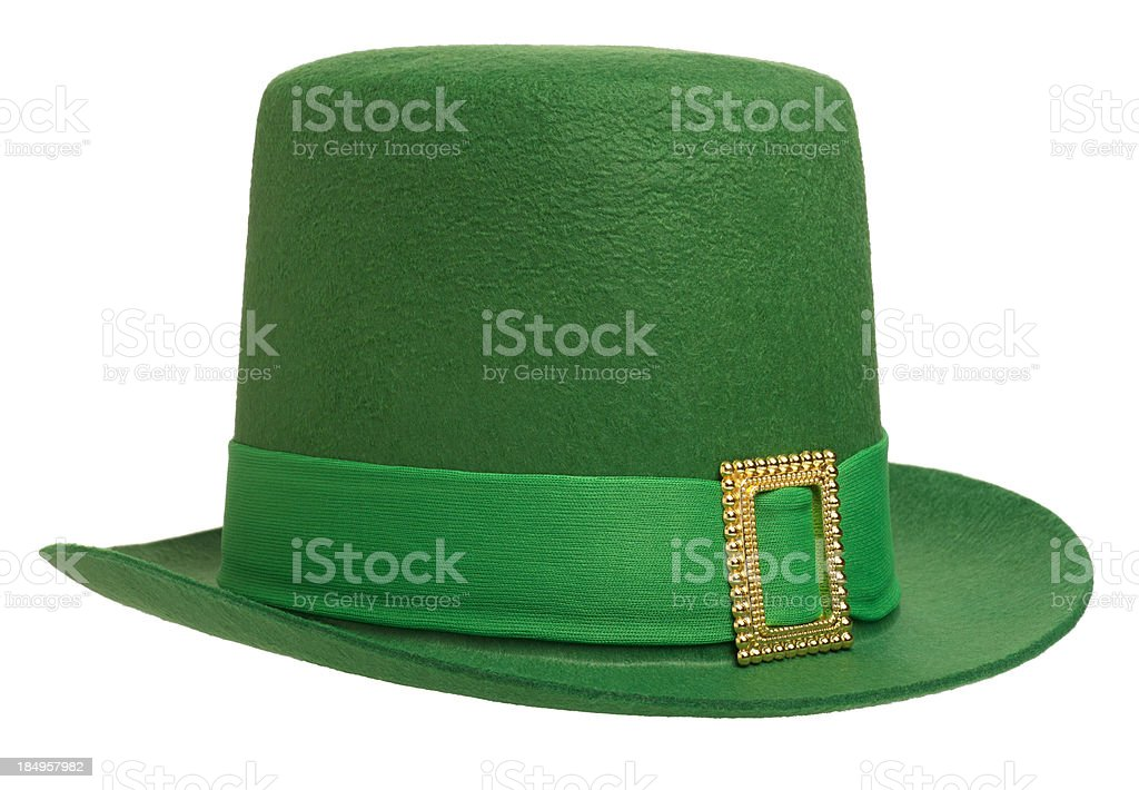 Green Leprechaun Hat Isolated on White stock photo