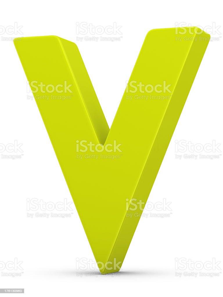 green letter V stock photo