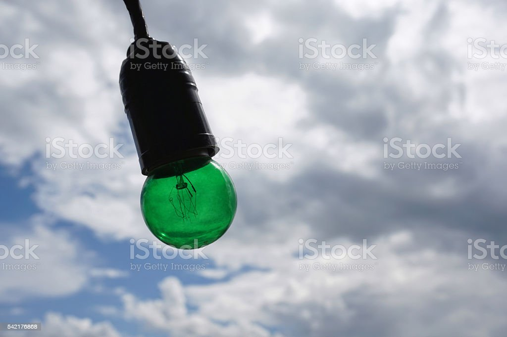 Green light blub royalty-free stock photo