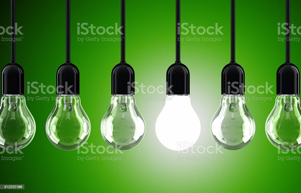 Green Light Bulbs stock photo