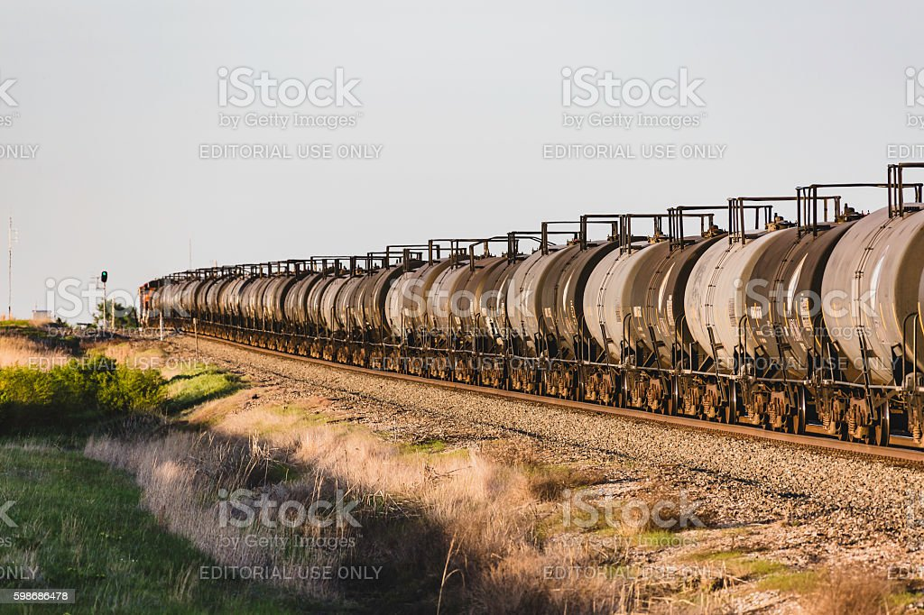 Green light for train with clean energy biofuel stock photo