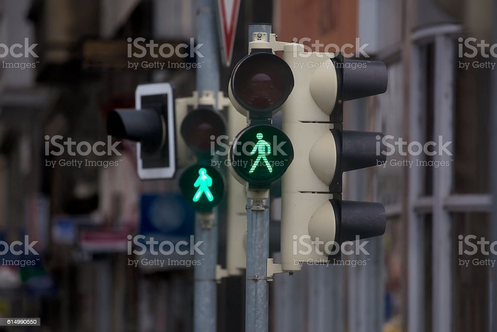 Green light in urban street stock photo