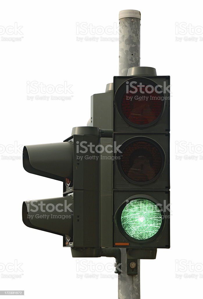 Green light (isolated on white) royalty-free stock photo