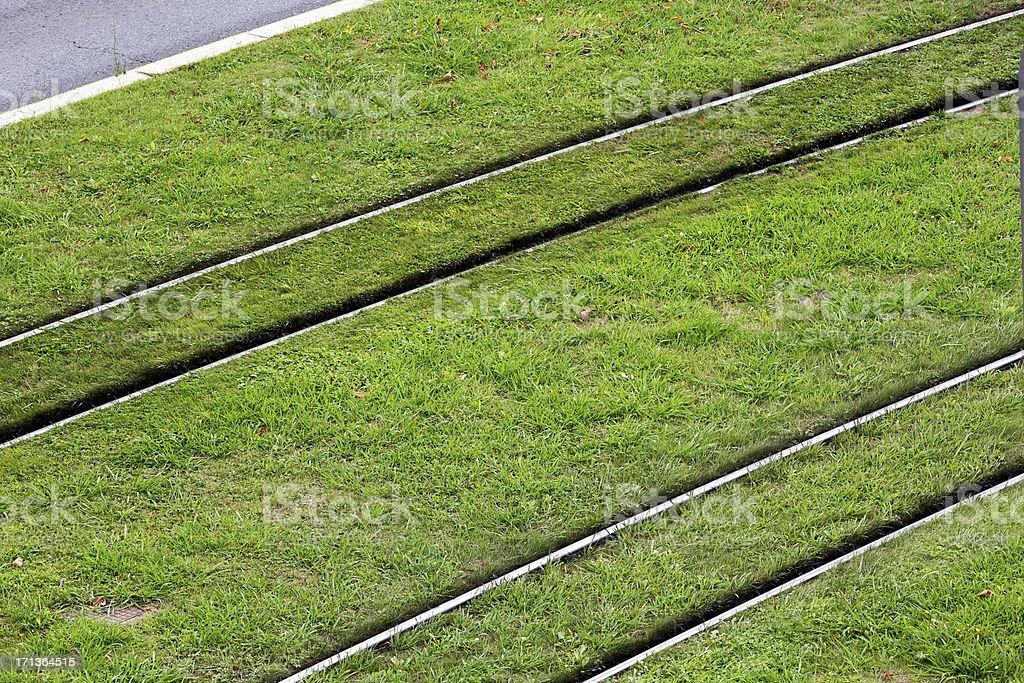 Green light rail tram tracks, Bilbao royalty-free stock photo