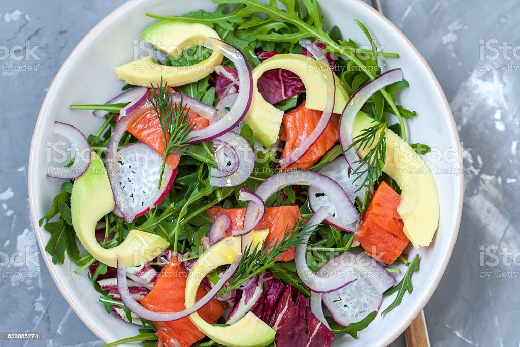 Green light salad with salmon and avocado stock photo