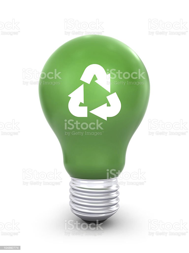 Green lightbulb with recycling symbol royalty-free stock photo