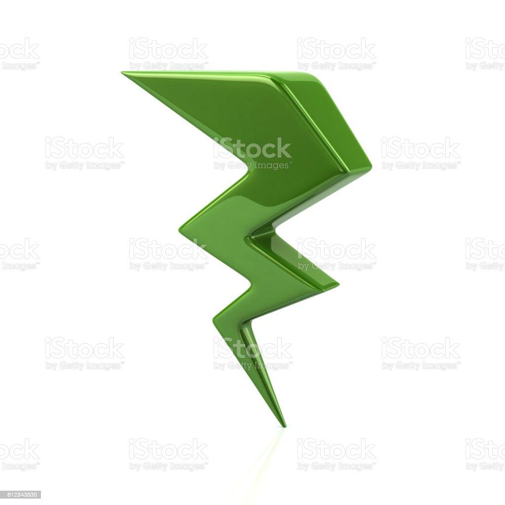 Green lightning icon stock photo
