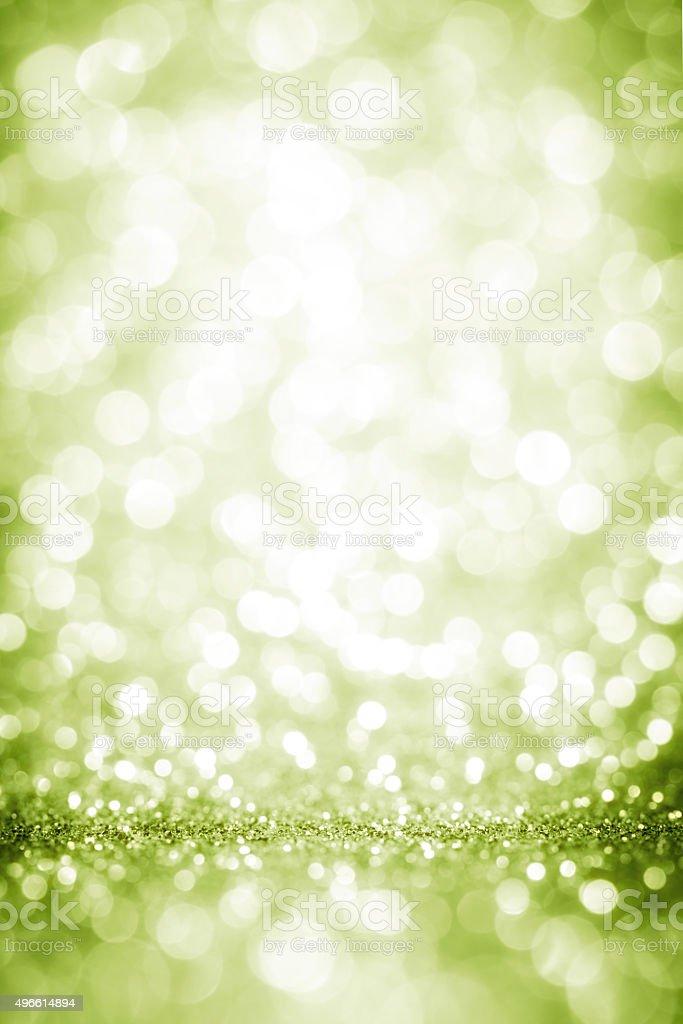 Green lights defocuse sparkles stock photo