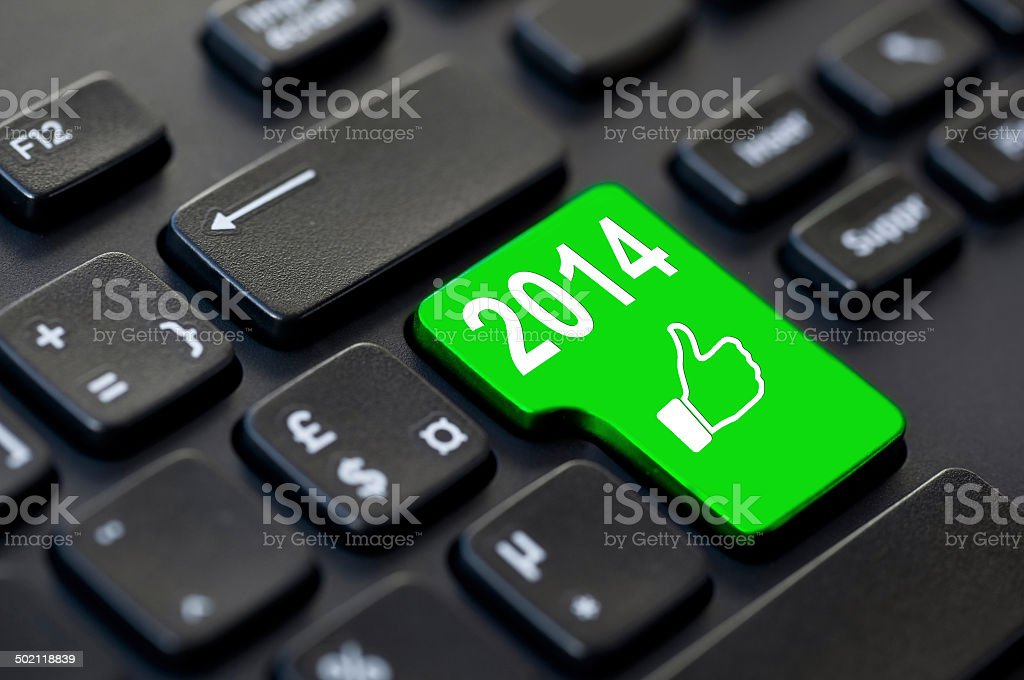 Green like 2014 key on a computer royalty-free stock photo