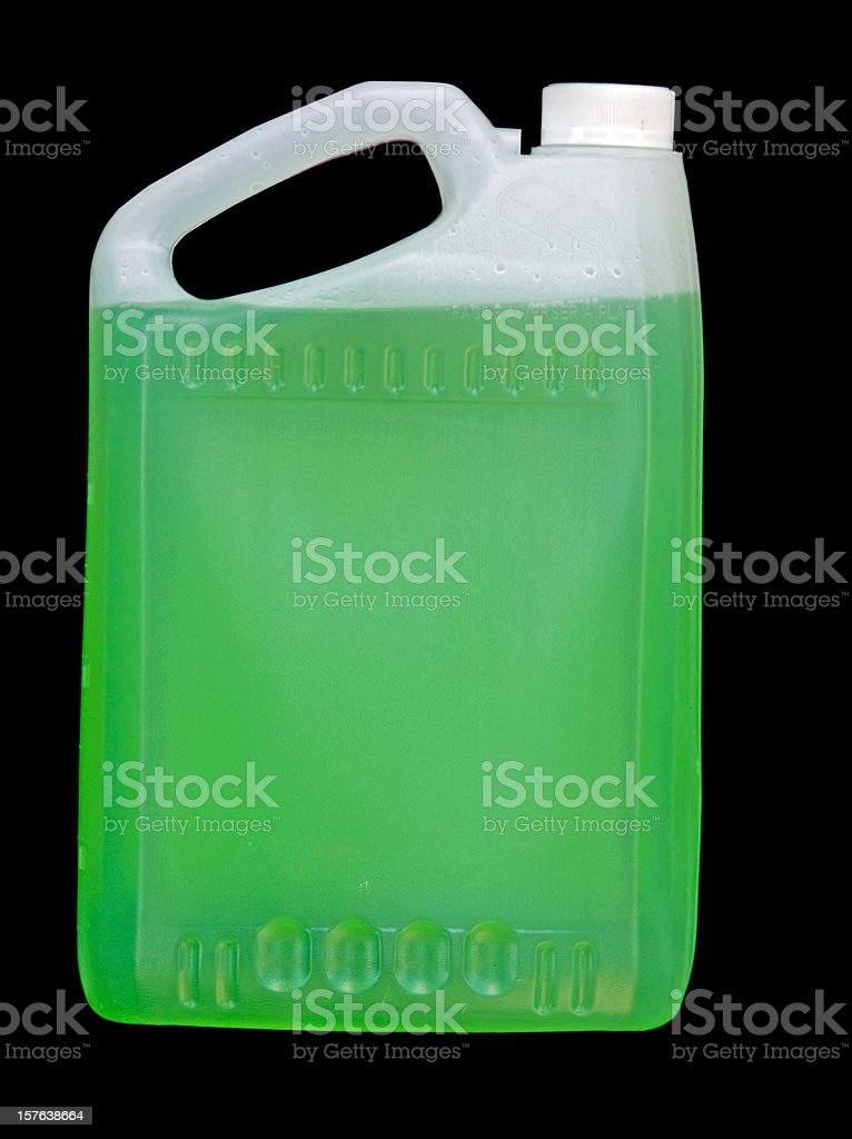 Green Liquid Container on Black royalty-free stock photo