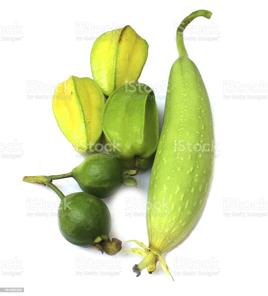 green loofah gourd,carambola,guava on white royalty-free stock photo
