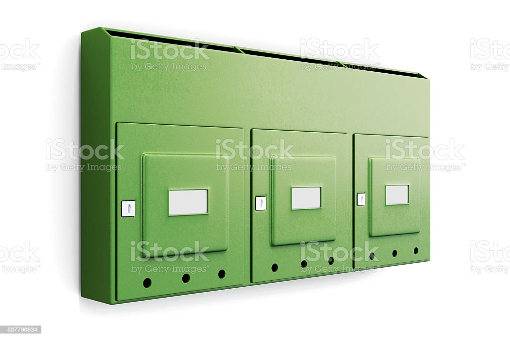 Green mailbox in an apartment building isolated on white backgro stock photo