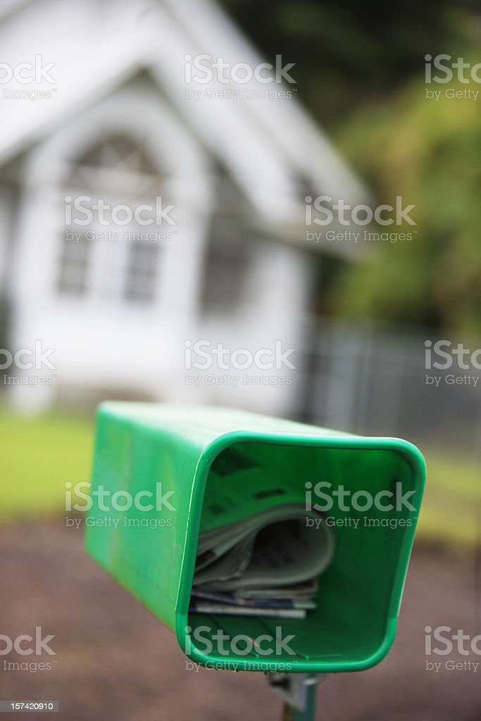 Green mailbox royalty-free stock photo