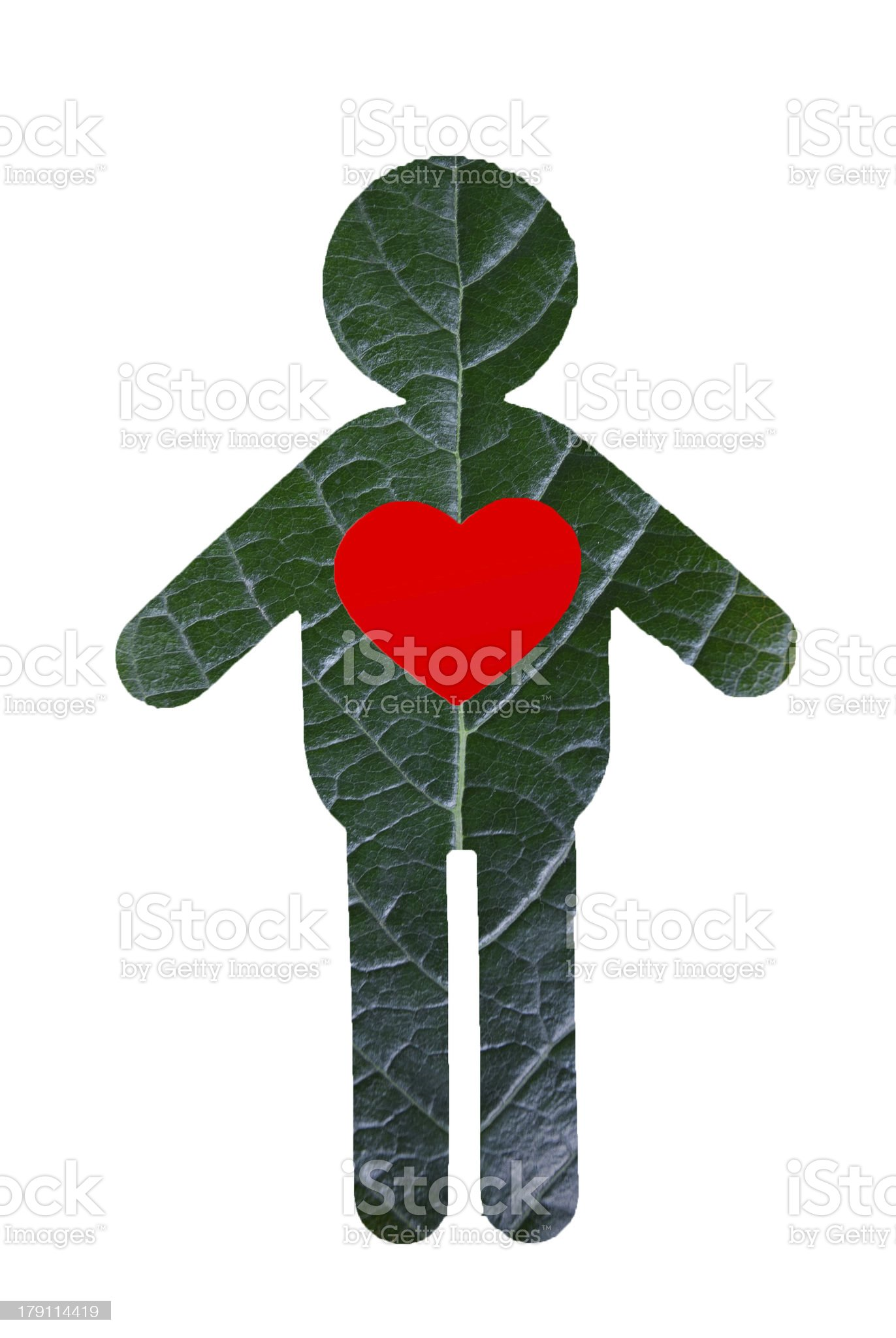 Green Man with red heart royalty-free stock photo