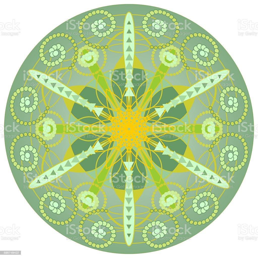 Green mandala for harmony and power obtaining stock photo