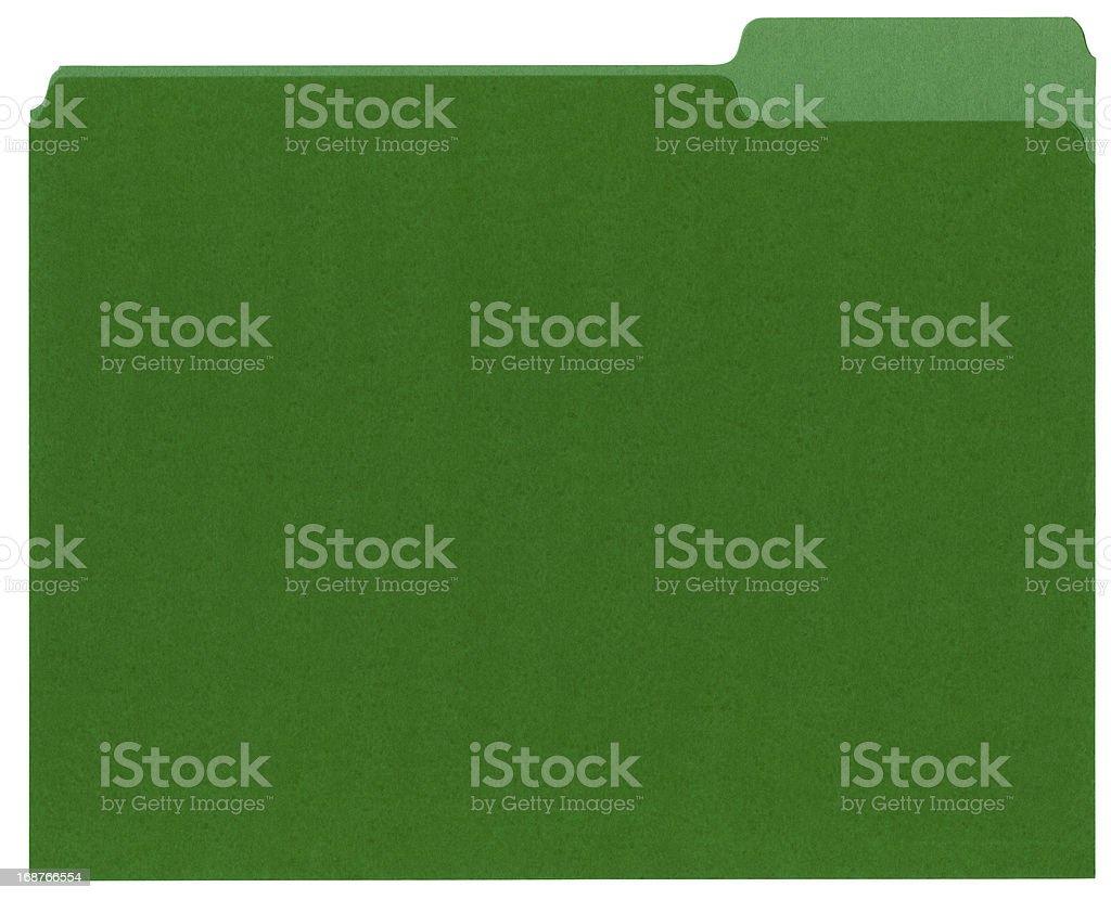 Green manila file folder on white background stock photo