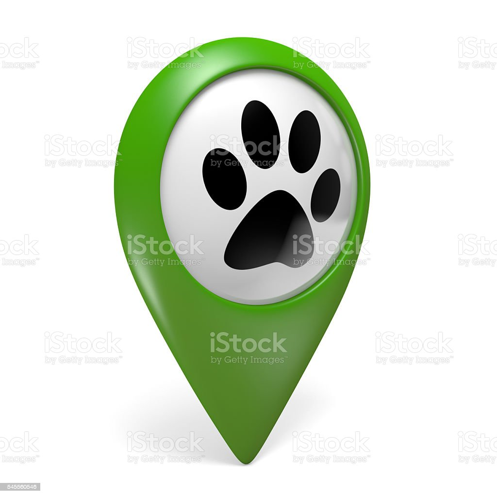 Green map pointer icon with paw symbol for pet services stock photo