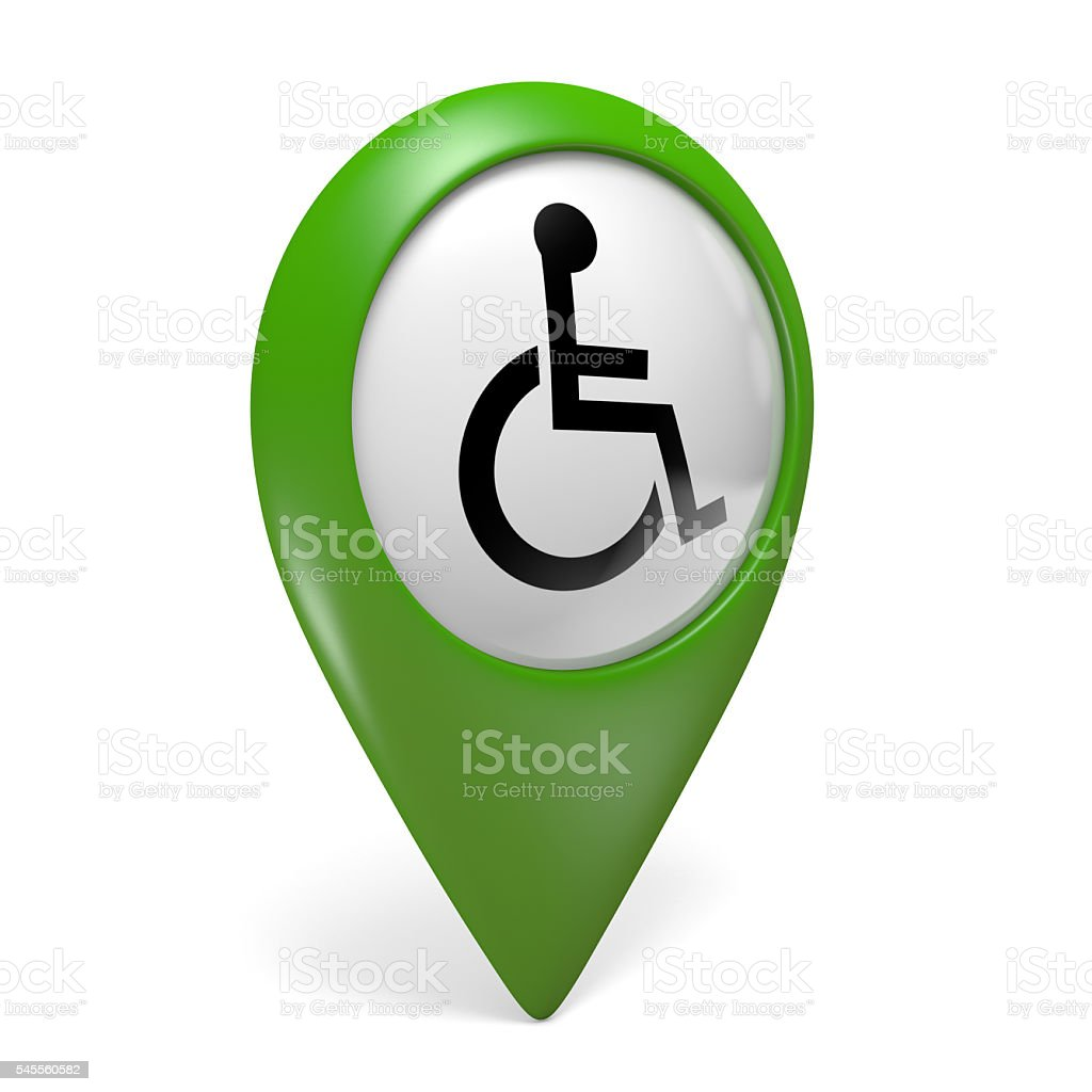Green map pointer icon with wheelchair symbol for handicapped persons stock photo