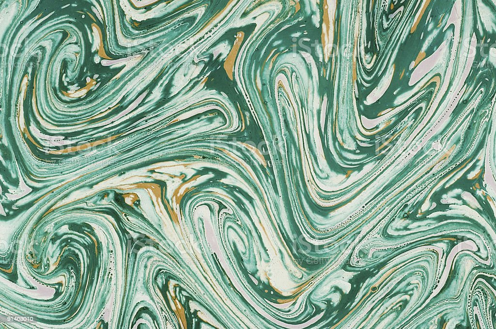 Green marbled paper stock photo