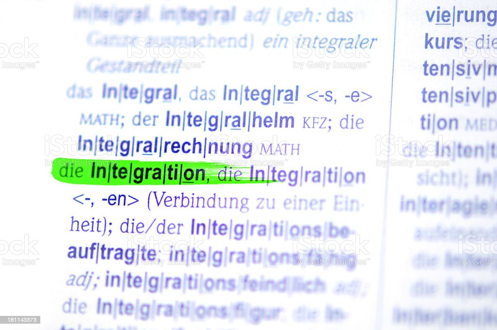 green marked german word Integration stock photo