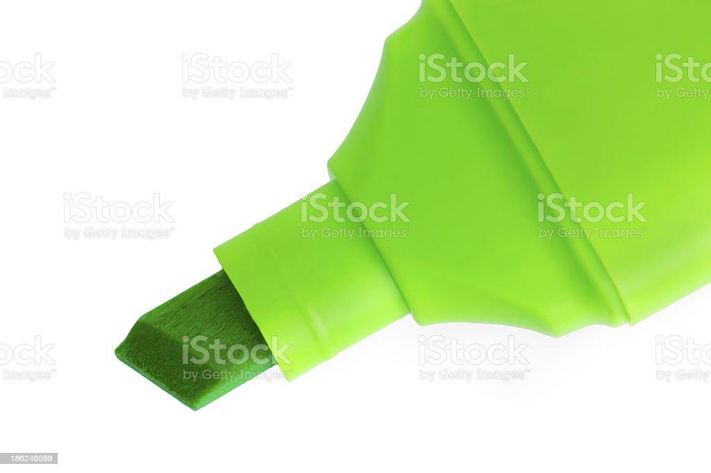 Green marker macro closeup, isolated highlighter studio shot royalty-free stock photo