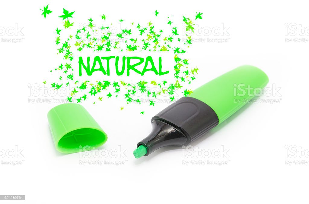 Green marker natural font isolated stock photo