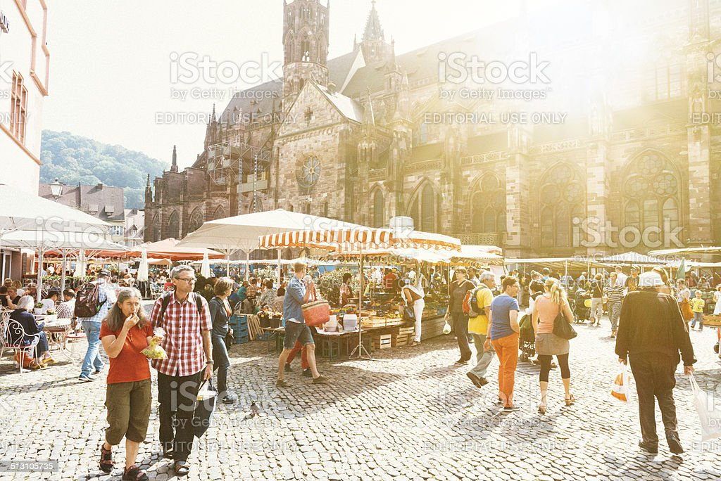 Green market in the city of Freiburg, Germany stock photo