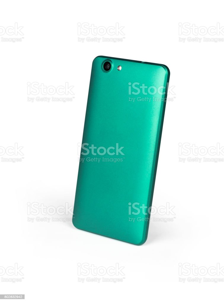 Green mat mobile smart phone standing on white background viewed from back side. Isolated with clipping path stock photo