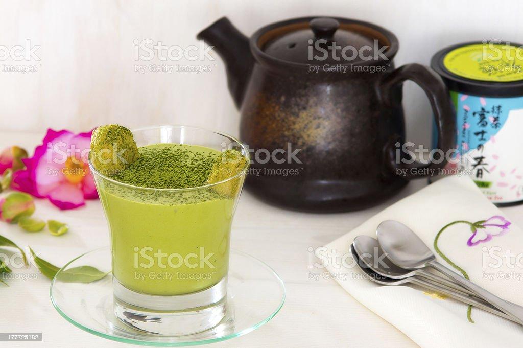 Green matcha tea tiramisu royalty-free stock photo