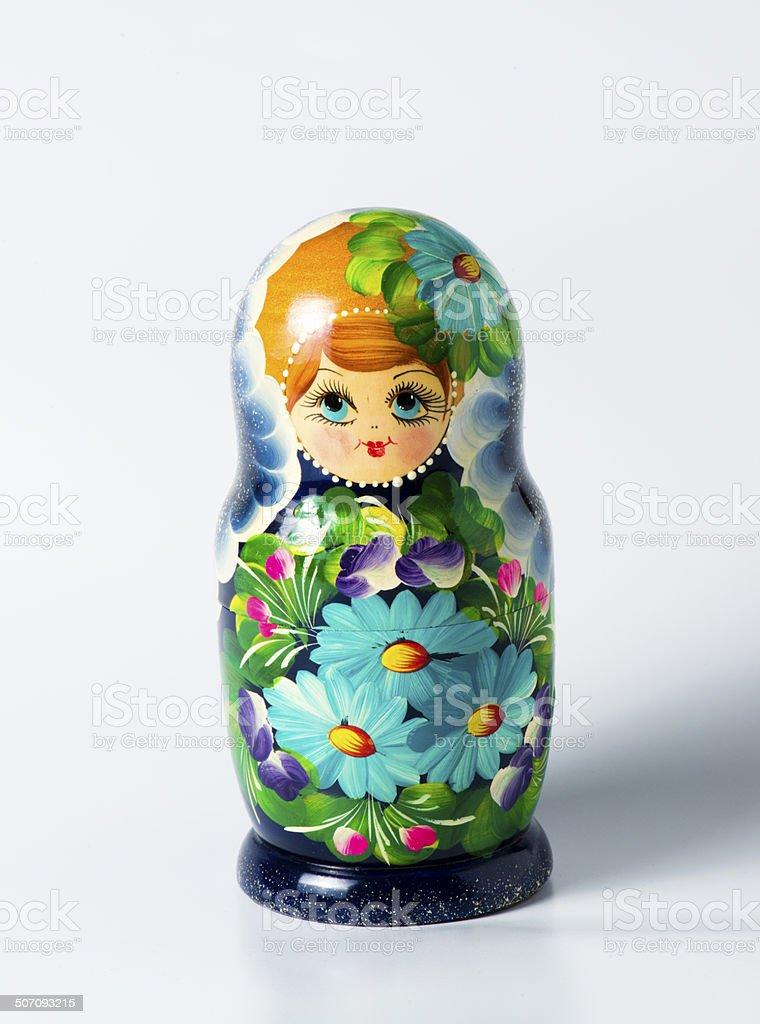 Green matryoshka isolated on white royalty-free stock photo