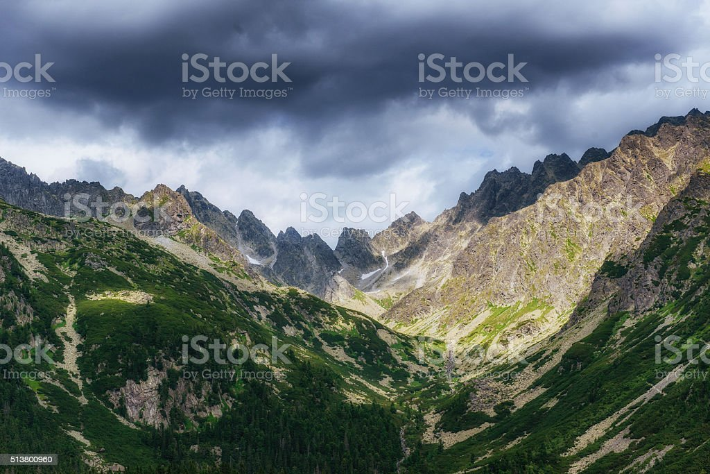 Green meadow and blue sky with clouds over the mountains. stock photo