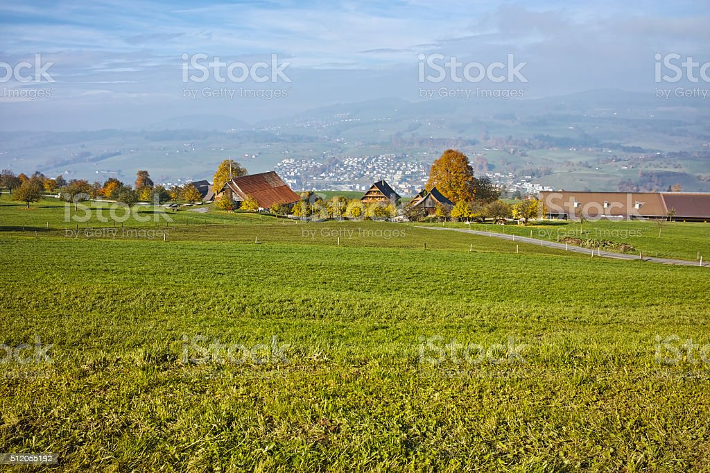 Green meadows above Lake Lucerne, Alps, Switzerland stock photo