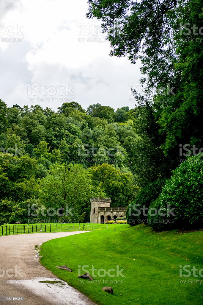 Green Meadows and Trees in Beautiful Ilam Hall stock photo