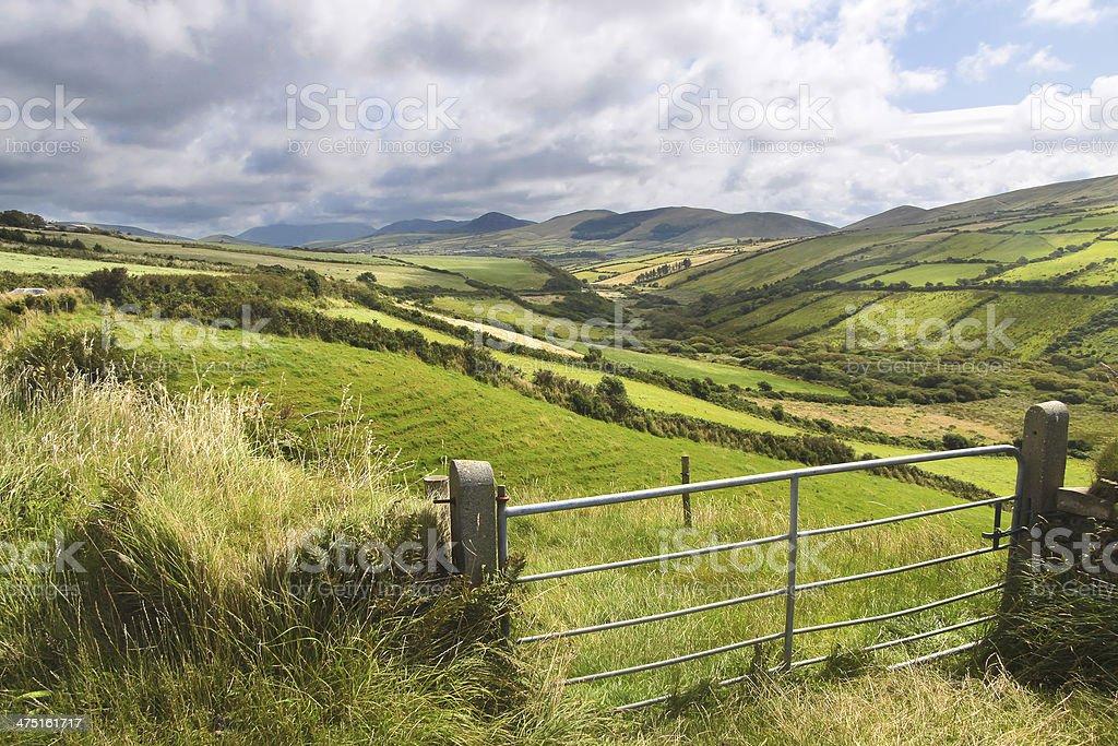 Green meadows near Dingle stock photo
